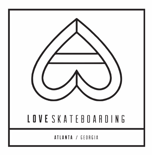 LOVESKATEBOARDING outline logo, Love Skateboarding Company, Atlanta, GA